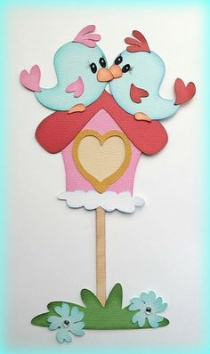 Set of love birds paper piecing premade scrapbooking my tear bears kira Foam Crafts, Preschool Crafts, Easter Crafts, Art For Kids, Crafts For Kids, Bird Drawings, Scrapbook Embellishments, Quilt Patterns Free, Valentines Diy