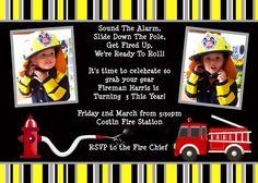 Firefighter birthday invitation
