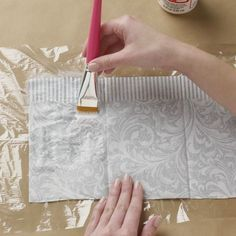 Our Can't-Miss Tip For Perfect Paper Napkin Decoupage!You can find Decoupage art and more on our website.Our Can't-Miss Tip For Perfect Paper Napkin Decoupage! Idées Mod Podge, Mod Podge Crafts, Mod Podge Uses, Modge Podge Projects, Crafts To Make, Arts And Crafts, Paper Crafts, Diy Crafts, Crate Crafts