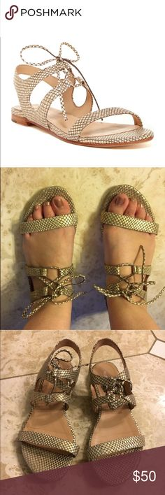 Pour La Victoire gold/white snakeskin sandals Pour La Victoire gold/white snakeskin leather sandals. Style is called Lacey. Worn 2 times and in excellent used condition. No visible flaws that I can see. Minor wear as seen in pictures. Make me an offer! Pour La Victoire Shoes Sandals
