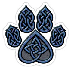 "Celtic Knot Pawprint - Blue"" Stickers by CGafford 