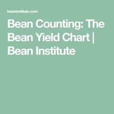Bean Counting: The Bean Yield Chart | Bean Institute