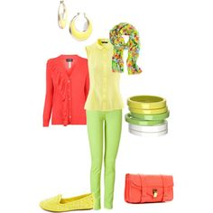 warm spring outfits | Warm Spring Casual Outfit Idea - Yellow, Green, Coral