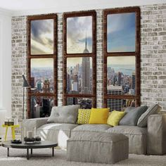 WALL MURAL New York City Skyline Window View XXL PHOTO WALLPAPER (2832DC)