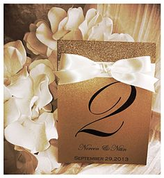 Gold shimmer glitter table number with ribbon  great by VPElegance, $3.50