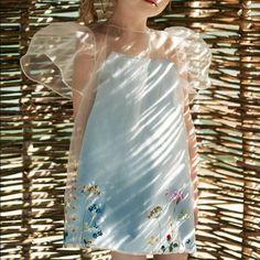 <ul><li>Cotton lined, transparent dress with hand embroidery</li><li></li><li>Full, puffed sleeves</li><li></li><li>100% Polyester Upper</li><li></li><li>100% Cotton Lining</li><li></li><li>Hand Embroidered</li></ul>
