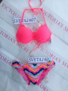 New Sexy Victoria's Secret Neon Hot Pink Chevron Fabulous Push Up Bikini Neon in Clothing, Shoes & Accessories | eBay