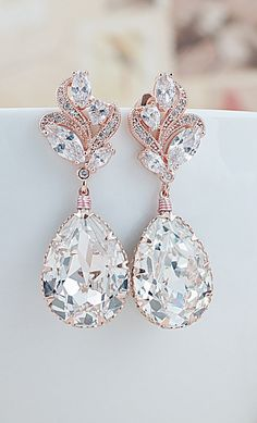 Luxury Vintage Style Swarovski Crystals in Rose Gold Earrings  See more here: http://www.earringsnation.com/jewelry/luxury-bridal-jewelry/luxury-cubic-zirconia-floral-ear-posts-with-swarovski-crystal-drop-earrings#.VgyIhvmqqko