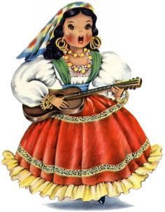 This is a Pretty Retro Mexican Doll Image! Isn't she beautiful? This darling Girl is wearing a brightly colored costume, with lots of bold Jewelry! Images Of Halloween Costumes, Vintage Cards, Vintage Images, Clip Art, Graphics Fairy, Christmas Art, Paper Dolls, Character Design, Illustration Art