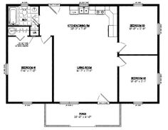 Guest house 30′ x 22′ floor layout