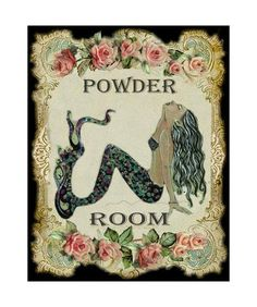 Items similar to Roses Vintage Mermaid Powder Room Decor Quality Vertical Art Print on Etsy
