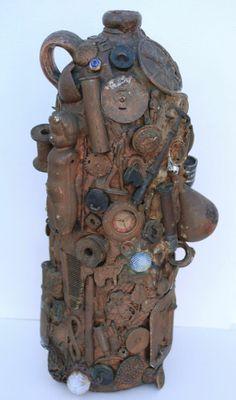 Wonderful OOAK Antique American Folk Art Memory Jug Jar 19C Found Object