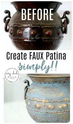 Old Metal Makeover with Faux Patina Finish (so simple to do! Clearance Outdoor Furniture, Rustic Outdoor Furniture, Copper Spray Paint, Patina Paint, Ideias Diy, Painted Vases, Faux Painting, Paint Effects, Patina Finish