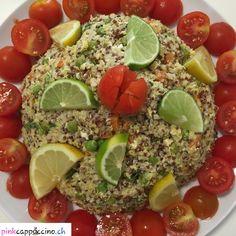 Poêlée de quinoa-millet Curry D'aubergine, Sans Gluten Ni Lactose, Cobb Salad, Quinoa, Food, Cucumber, Mint, Meal, Meals