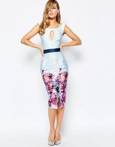 74a76a470bd Image 4 of True Violet Off Shoulder Pencil Dress In Ombre Floral Print  White Off Shoulder