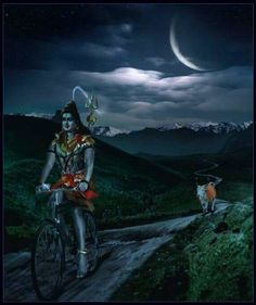 Shiva and Nandi by moonlight ~ Lord Shiva leaves His home on Mount Kailash in the Himalayas and tries a different mode of transportation. The bull Nandi, His traditional mount, runs along behind. Shiva Parvati Images, Mahakal Shiva, Shiva Statue, Shiva Art, Hindu Art, Lord Murugan Wallpapers, Lord Shiva Hd Wallpaper, Tantra, Angry Lord Shiva