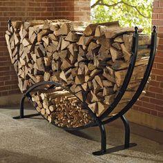 A fancier style of rack for base of stair firewood storage. Frontgate Steel Log Racks