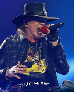 On fie: Axl still put on an energetic show perched in a chair on stage...