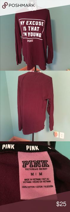 Pink long sleeve shirt Pink long sleeve shirt is comfy and great condition. Non smoking home PINK Victoria's Secret Tops Tees - Long Sleeve