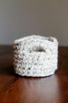 Tiny Crocheted Basket in color Wheat Off by FountainTopCreations