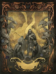 """yoann lossel """"Grendel's Mother Mare"""" - Illustration for """"Beowulf"""", published by Easton Press. With a tribute to """"Le Pater"""" by Alfons Mucha. Art And Illustration, Comic Kunst, Comic Art, Fantasy Kunst, Fantasy Art, Grendel's Mother, Art Noir, Dark Beauty Magazine, Beowulf"""