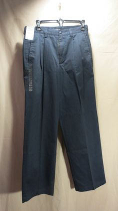 NEW Claiborne Men's Navy Blue Casual Pants Pleated/No Iron 30x30 $58 on Tag!