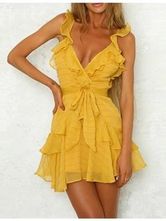 Lily Rosie Girl Solid Ruffles Yellow Dress Women Dress Green Sexy Chiffon Casual Dress Bohemian Beach Party Dress Vestidos - Designer Accessories Online - largest collection of fashionable designer clothing and accessories Beach Dresses, Sexy Dresses, Casual Dresses, Fashion Dresses, Summer Dresses, Elegant Dresses, Pretty Dresses, Yellow Dress Summer, Formal Dresses
