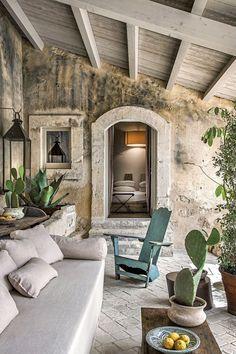 Rustic Italian Home Outdoor Rooms, Outdoor Living, Outdoor Decor, Rustic Outdoor, Outdoor Furniture, Home Interior Design, Exterior Design, Italian Interior Design, Italian Home Decor