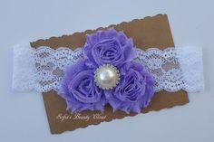 Lavender headband. Lace headband. Lavender by SofiasBeautyCloset