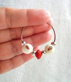 Handmade Brazilian White Açaí Seeds and Red Tento by LauraBijoux