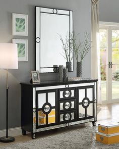 Carlstadt Sideboard, black frame and mirrored surfaces