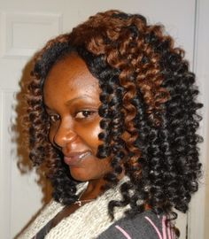 Crochet Hair Rods : Crochet Weave With Marley Hair Curled on Perm Rods. *Thanks for ...