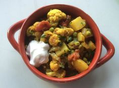 """This is a Cauliflower, Pea and Potato Curry from """"Modern Irish Food"""" by Irish chef Kevin Dundon. It happens to be vegan as well as delicious."""