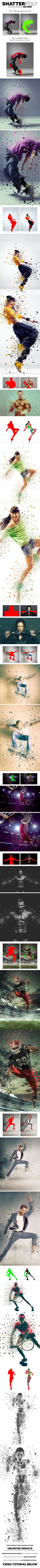 ShatterPoly Photoshop Action - Photo Effects Actions