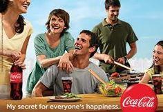 Este anuncio nos presenta a un grupo de amigos contentos y añade el mensaje: mi secreto para todos es la felicidad y pone al lado el logo de Coca Cola. Es decir, el secreto para ser felices es estar con tus amigos tomando una Coca Cola.
