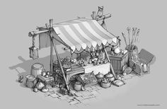 Magic Market Stall, Milan Vasek on ArtStation at… Environment Concept Art, Environment Design, Market Environment, Prop Design, Game Design, Design Visual, Medieval Market, Building Concept, Market Stalls