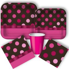 Pink Party Supplies, Polka Dot Party Supplies, Pink and Chocolate