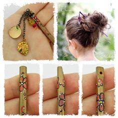 Pic à cheveux Lizzie/Makdie Marron, Orange/BronzeAutomne+Paillettes
