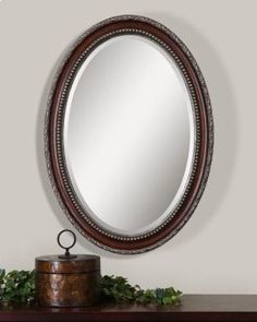 Buy Uttermost Montrose Antiqued Silver Oval Wall Mirrors at Zin Home. Frame features a distressed dark mahogany wood tone finish with antiqued silver details around inner and outer edges and a dark gray wash. Mirror has a generous 1 bevel. Oval Mirror, Beveled Mirror, Oval Frame, Mirror Glass, Wood Mirror, Uttermost Mirrors, Mirrors Wayfair, Modern Full Length Mirrors, Contemporary Wall Mirrors