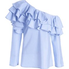 Skew Collar Ruffle Stripe Top ❤ liked on Polyvore featuring tops, blouses, blue stripe blouse, ruffle top, frill collar blouse, flounce tops and frill blouse