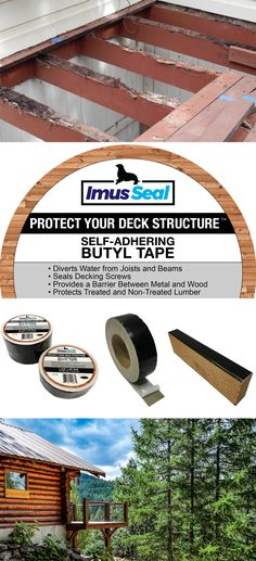 Imus Seal is a self-adhering butyl joist and beam tape designed to protect your wooden deck structure from water damage and rot. Building Design Plan, Building A Deck, House Building, Building Ideas, Building Plans, House Deck, House With Porch, Deck Plans, Pergola Plans