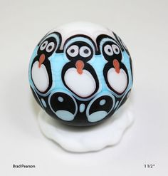 Penguin Marble with snowy stand    Brad Pearson. via Etsy.