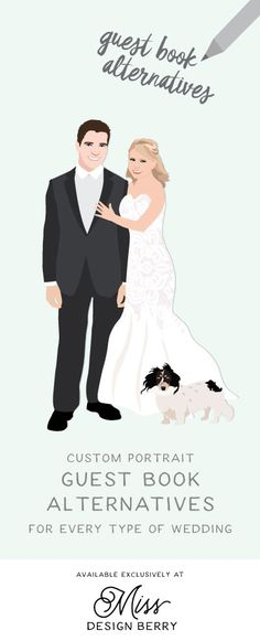 Unique, custom illustrated guest book alternatives with couple portraits... NEED!!!!!!