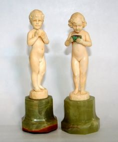 Ferdinand Preiss ivory 'Boy with Apple' and 'Girl with Casket'