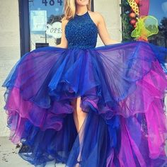A-line halter hi-lo royal blue organza prom/homecoming dress with beading ruffles