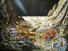 Das Neue Universum 73, 1956  Die Eroberung des Mondes. Concept art with mining on the Moon by Claus Bürgle