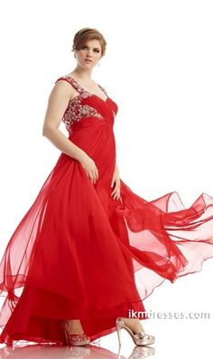 015 Prom Dress Straps A Line Embellished With Beaded Applique Ruffled Chiffon Red http://www.ikmdresses.com/2014-Prom-Dress-Straps-A-Line-Embellished-With-Beaded-Applique-Ruffled-Chiffon-Red-p84694