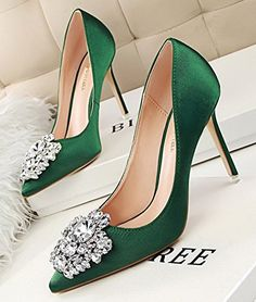 Aisun Women's Elegant Sparkly Rhinestones Slip on Pointy Stiletto High Heels  Court Shoes: Amazon.