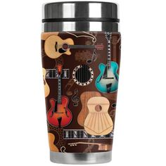 Guitars Travel Mug Water Proof Insulated Cup Mugzie Electric Guitar Acoustic Guitar Hero, Guitar Bag, Inexpensive Dates, Guitar Gifts, Music Stand, Insulated Cups, Night Couple, Coffee Travel, Travel Mugs