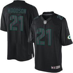 Men's Black Nike Elite Green Bay Packers #21 Charles Woodson Impact NFL Jersey$129.99